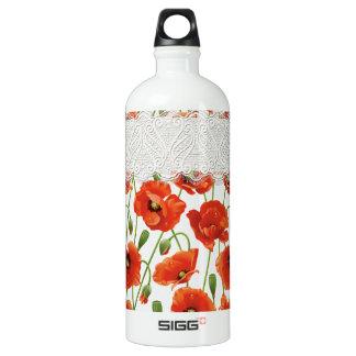 赤い花盛りのケシ ウォーターボトル