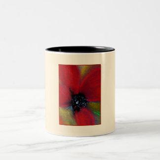 赤い花、ケシ ツートーンマグカップ