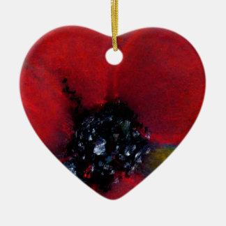 赤い花、ケシ 陶器製ハート型オーナメント