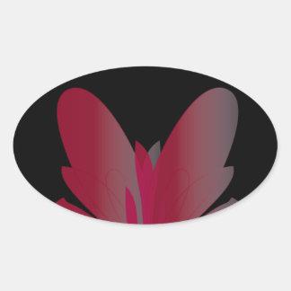 赤い花 楕円形シール