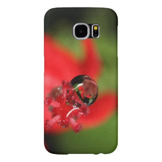 赤い花Waterdrop Samsung Galaxy S6 ケース