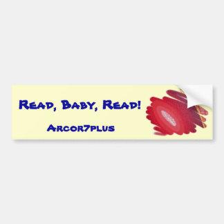 赤い芸術のらせん状の読書のベビーはバンパーステッカーを読みました バンパーステッカー