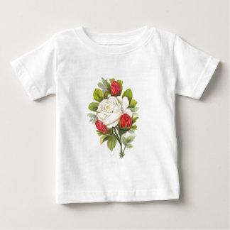 赤い芽を搭載する白いバラ ベビーTシャツ