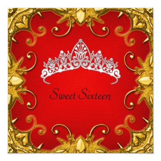 赤い菓子16の誕生会の金ゴールドの白のティアラ カード