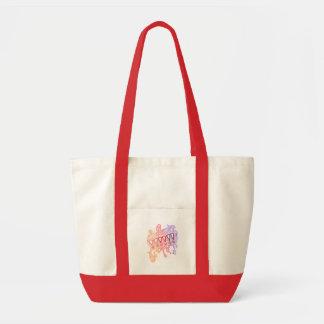 赤い落書きのバッグ トートバッグ