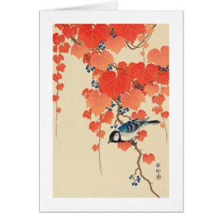 赤い蔦に鳥、赤いキヅタ、Koson、Ukiyo-eの古邨の鳥 カード