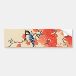赤い蔦に鳥、赤いキヅタ、Koson、Ukiyo-eの古邨の鳥 バンパーステッカー