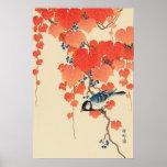 赤い蔦に鳥、赤いキヅタ、Koson、Ukiyo-eの古邨の鳥 ポスター