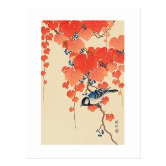 赤い蔦に鳥、赤いキヅタ、Koson、Ukiyo-eの古邨の鳥 ポストカード