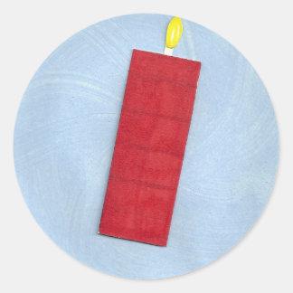 赤い蝋燭のステッカー 丸形シール・ステッカー