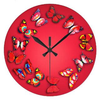 赤い蝶ノベルティの柱時計 ラージ壁時計