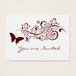 赤い蝶結婚式招待状 名刺