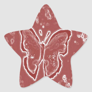 赤い蝶 星シール