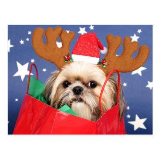 赤い買い物袋のシーズー(犬)のTzu犬 ポストカード