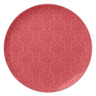 赤い贅沢、スタイリッシュなダマスク織パターンプレート、皿 プレート