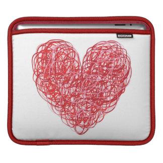 赤い走り書きのハートのiPadの袖 iPadスリーブ