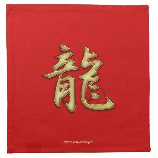 赤い辰年のカクテルのナプキンの金ゴールド ナプキンクロス
