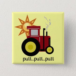 赤い農場トラクターのTシャツおよびギフト 5.1CM 正方形バッジ