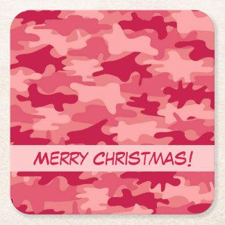 赤い迷彩柄のカムフラージュのメリークリスマスのパーティ スクエアペーパーコースター