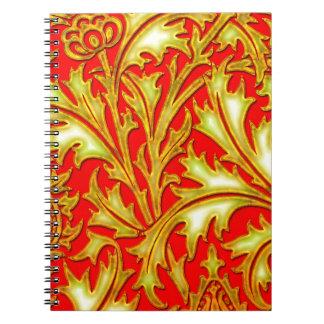 赤い金ゴールドのアザミ ノートブック