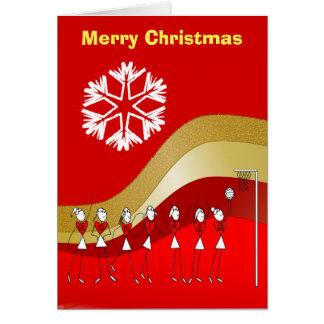 赤い金ゴールドのクリスマスのテーマのネットボール カード