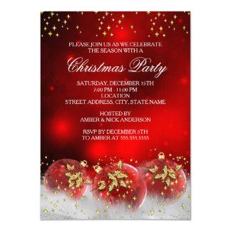 赤い金ゴールドのヒイラギのつまらないもののクリスマスの休日のパーティ カード