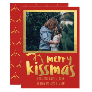 赤い金ゴールドのメリーなKissmasの休日の写真カード カード