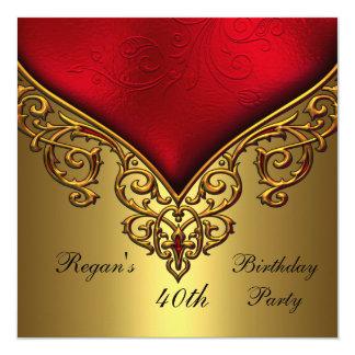赤い金ゴールドの宝石第40のエレガントな誕生会 13.3 スクエアインビテーションカード