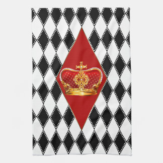 赤い金ゴールドの王冠及び白黒ダイヤモンド キッチンタオル