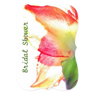 赤い金ゴールドの緑のアマリリスの抽象芸術のブライダルシャワー カード