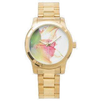 赤い金ゴールドの緑のアマリリスの抽象芸術 腕時計