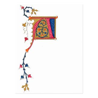 赤い金ゴールドの青く華美なモノグラムA ポストカード
