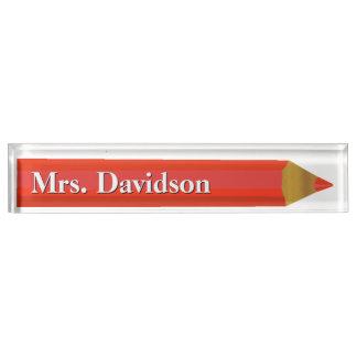 赤い鉛筆の先生のカスタムな机用ネームプレート デスクネームプレート