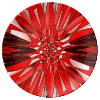 赤い鉱物 磁器プレート