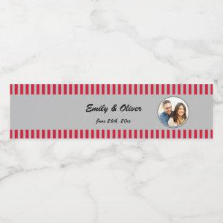 赤い銀製の写真のボトルのラベルの結婚式 ペットボトルラベル