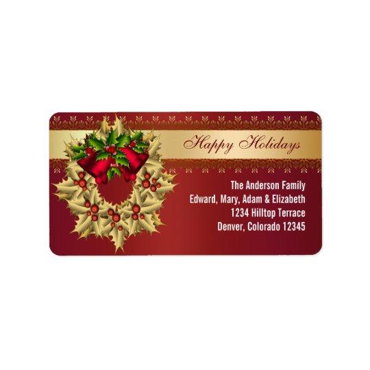 赤い鐘の金ゴールドのヒイラギの赤いクリスマスの宛名ラベル 宛名ラベル