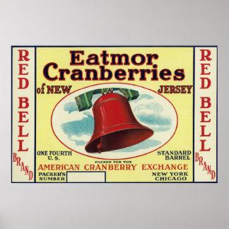赤い鐘Eatmorのクランベリーのブランド・ラベル ポスター