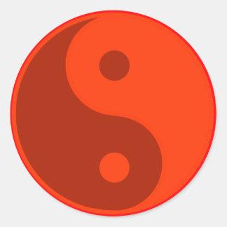 赤い陰陽のスピリチュアルの記号 ラウンドシール