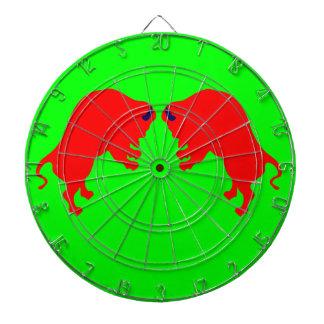 赤い雄牛の金属のおりの緑のダート盤 ダーツボード