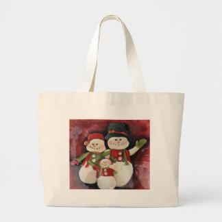 赤い雪だるま家族 ラージトートバッグ