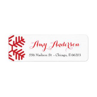 赤い雪片が付いているクリスマスの宛名ラベル ラベル