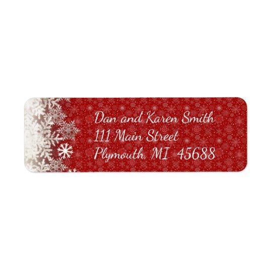 赤い雪片のクリスマスの宛名ラベル 返信用宛名ラベル