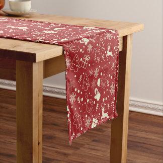 赤い雪片のシカパターン-クリスマスのギフト ショートテーブルランナー