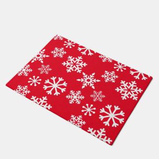 赤い雪片のドア・マット-クリスマス ドアマット