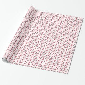 赤い雪片の包装紙との白 ラッピングペーパー