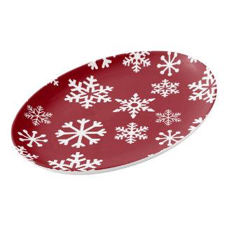 赤い雪片の配膳盆-クリスマス 磁器大皿