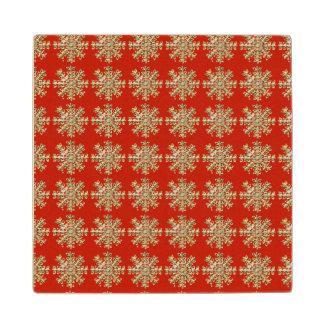 赤い雪片パターン ウッドコースター