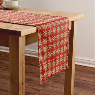 赤い雪片パターン ショートテーブルランナー