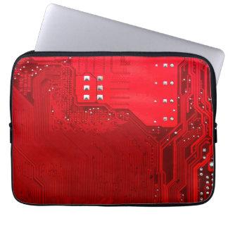 赤い電子回路のマザーボードパターン質 ラップトップスリーブ