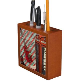 赤い電話バンド石nロールエレキギター ペンスタンド
